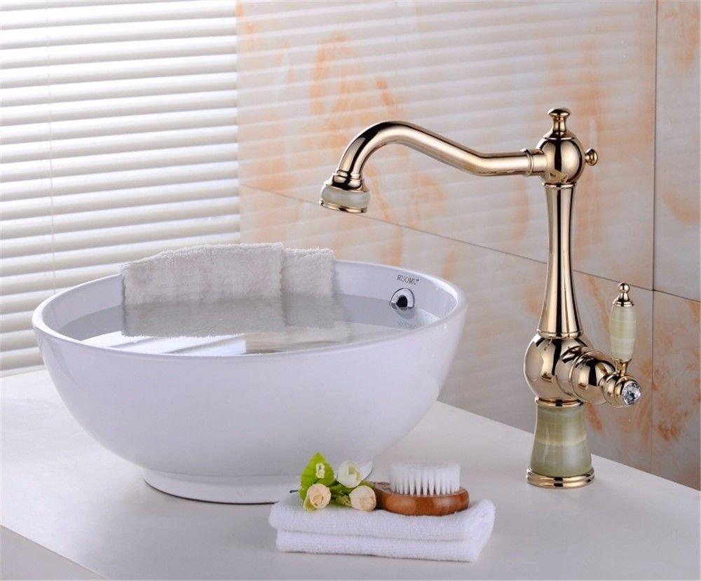 MEIBATH Waschtischarmatur Badezimmer Waschbecken Wasserhahn Küchenarmaturen Gold Warmes und Kaltes Wasser Schwenken Küchen Wasserhahn Badarmatur