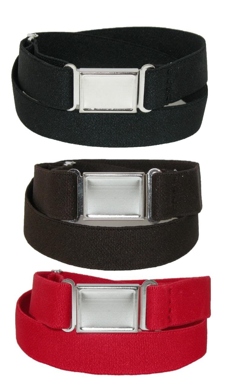 CTM® Kids' Elastic Stretch Belt with Magnetic Buckle (Pack of 3 Colors), Black Brown and Red SF-PCMAGNKIT2-BBR