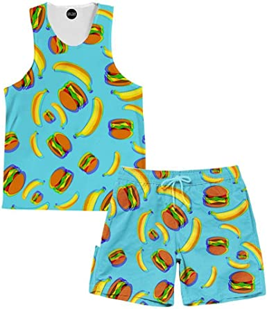 On Cue Apparel Bananas and Burgers Tank and Shorts Rave Outfit