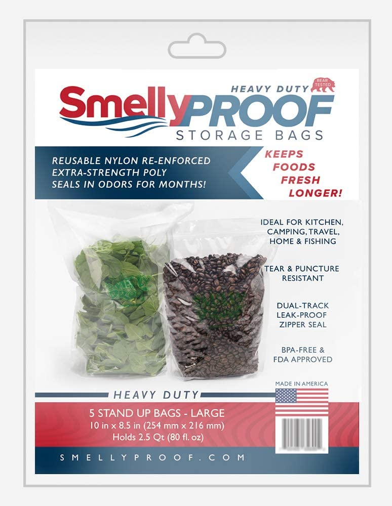 SMELLY PROOF - The Original No-Odor Heavy-Duty Storage Baggies - Clear - Reusable - Made in the USA (Stand Up Bag LARGE - 10