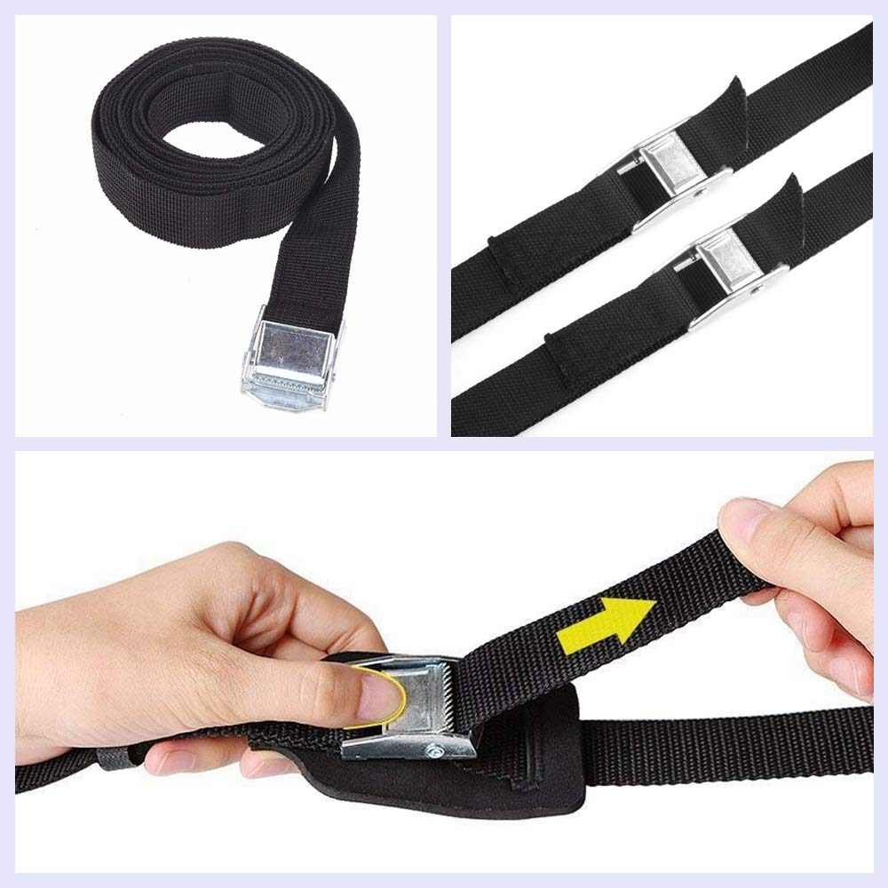 Black Lashing Strap Cam Buckle 8ft and 12ft up to 600lbs Lashing Straps Tie Down Straps 4-Pack