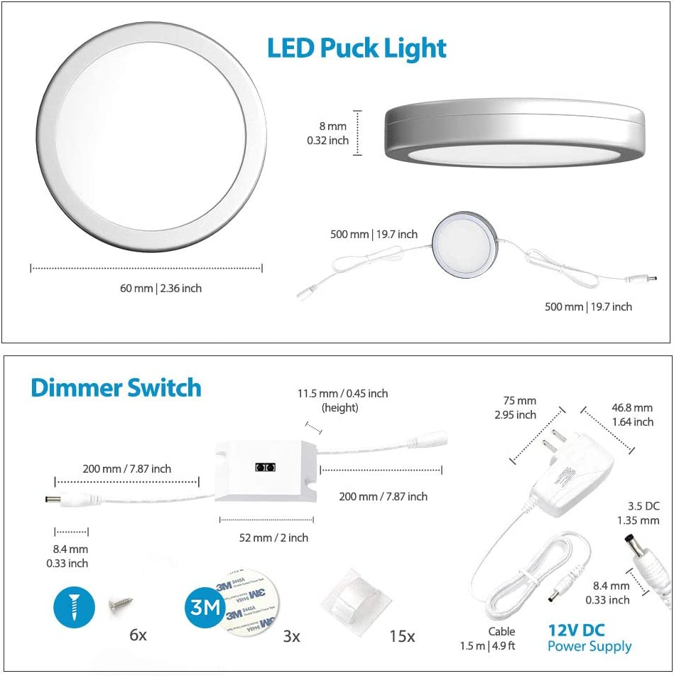 3000K EShine Under Cabinet Puck Lights with Hand Wave Sensor Circular LED Cabinet Lights Dimmable Warm White Pack of 3