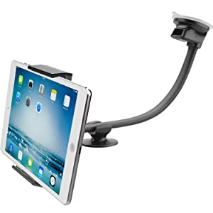 "Car Tablet Mount Holder [13"" Gooseneck Extension], Long Arm Windshield Vehicle Mount Compatible with 7-11 inch Tablet, Sticky Gel Suction Cup Cell Phone Holder for SUV Truck Lift Uber Driver, 2 in 1"
