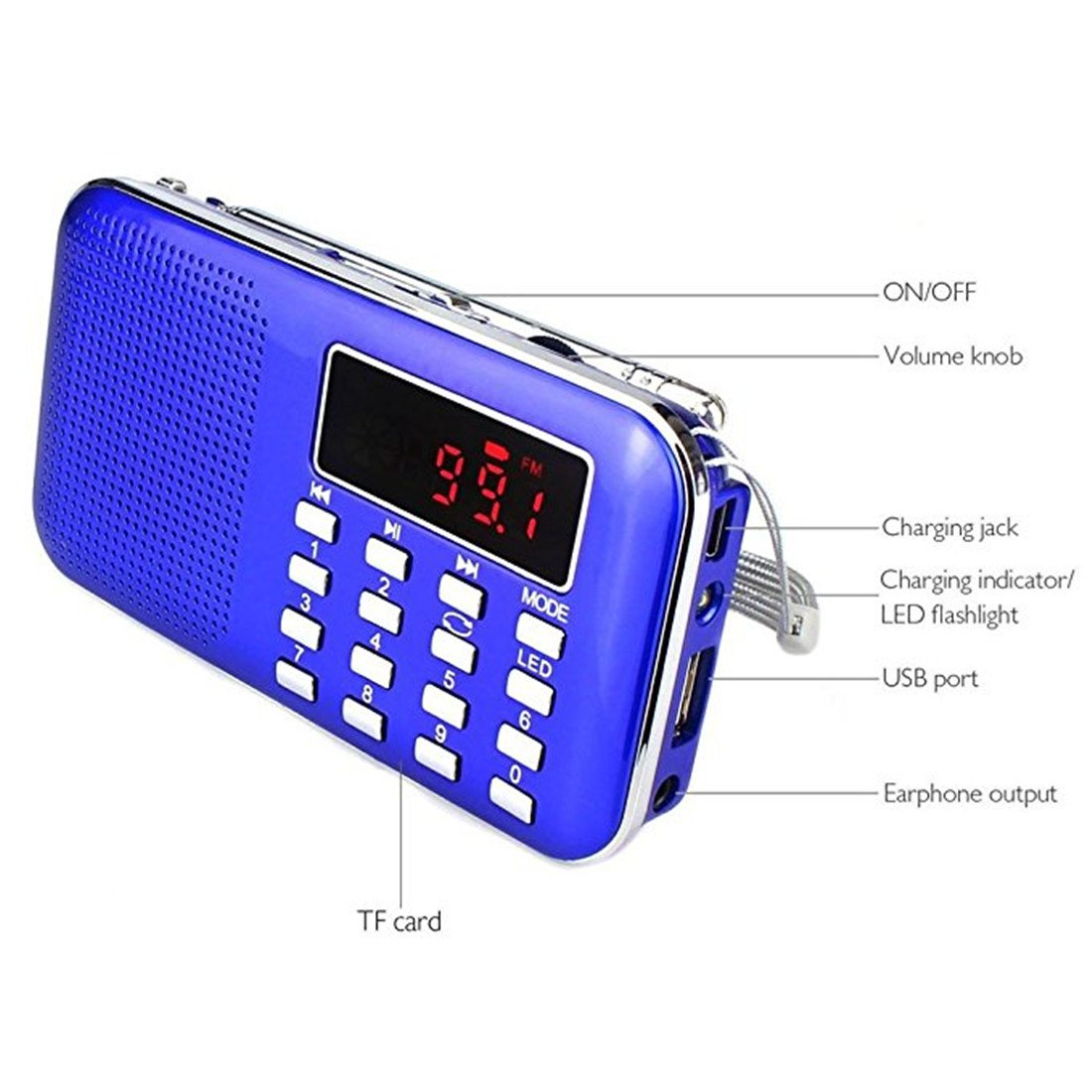 BeiLan Mini Digital AM FM Pocket Radio Portable Speaker Mp3 Music Player Stereo Sound Support TF Card USB Disk with LED Screen Display and Emergency Flashlight Function (Blue) by BeiLan (Image #5)