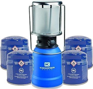 Kemper - Lámpara de camping de gas con carcasa ABS + 4 ...