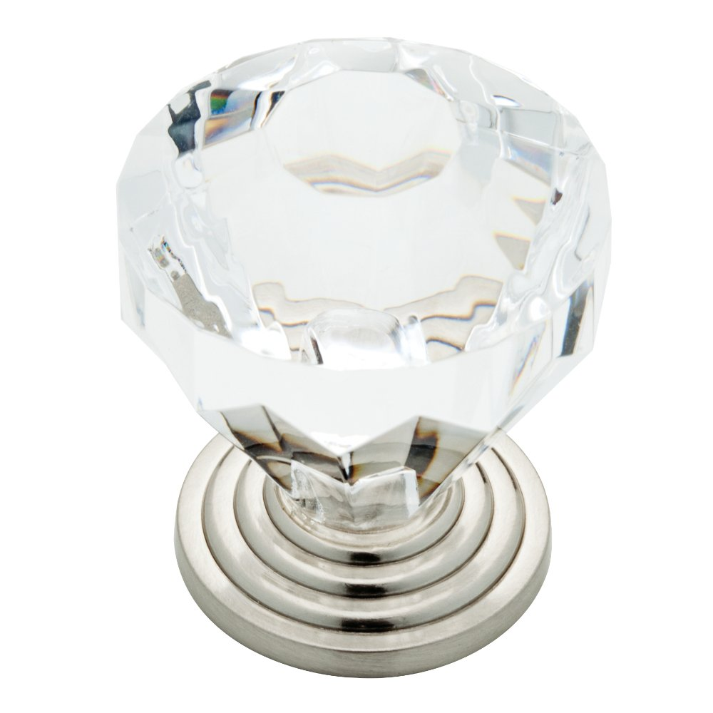 brainerd p23944w116c 1716inch brilliant cut acrylic kitchen cabinet hardware knob satin nickel and clear cabinet and furniture knobs amazoncom
