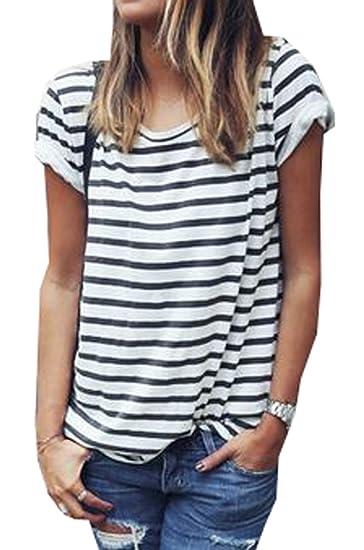 550872ccafe Tuesdays2 Women's Round Neck Black And White Striped Short Sleeve T-shirt  ((S