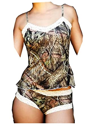 77ef163692a44e Country Camo and Cream Lace Camisole and Boy Short Camo Lingerie Set (L)