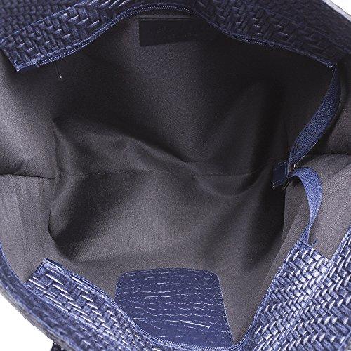 Trenzado Azul Italy Artegiani De Cuero Italiana Made 41x29x17 Firenze Bolso bolso Auténtica Tote bolso Para Color Acabado Genuino Negro Hombro Marino Cm Pelle In asa Mujer Piel Vera 7FtddUqwx