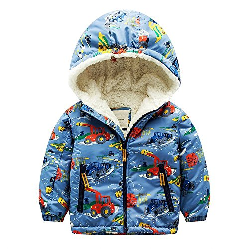 Baby Boys Girls Fleece Warm Coat Kids Winter Jacket Children's Hooded Outerwear (Tag 3-4, Tractor)