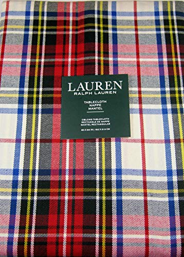 Lauren Ralph Lauren Gretchen Tartan Ivory 60 x 84 Inch Tablecloth