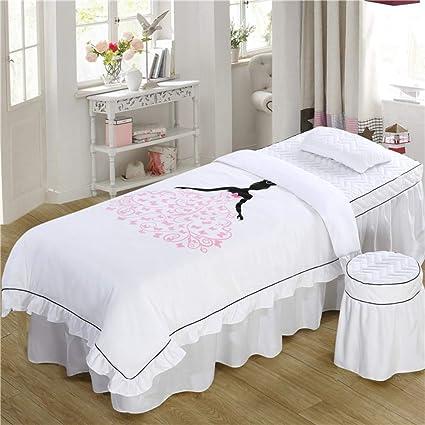 Simple Juego de sábanas para camilla de masaje Coreano Belleza Cubierta de cama 4 sets Falda de cama Fisioterapia de fumigación de salón cama cubierta cuerpo cubierta de cama de masaje-S 80x190cm(31x75inch):
