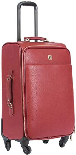 Packs Project – Bancroft Jetset Traveler Carry-On Luggage Vegan Leather with Gold Metal Zippers TSA Airline Approved, 21 L x 7 W x 12 H, Red