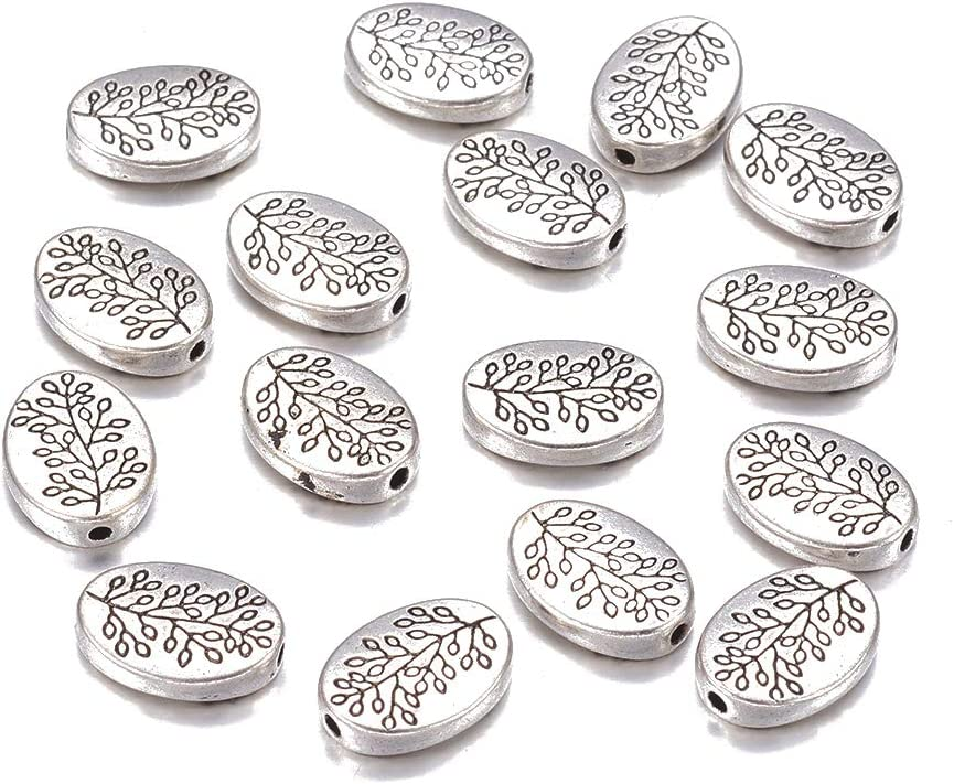 Fashewelry 50Pcs Antique Silver Oval With Leaf Spacer Beads 14x10mm Tibetan Metal Tree Branch Pattern Charm Beads for Jewelry Making Hole: 1.5mm