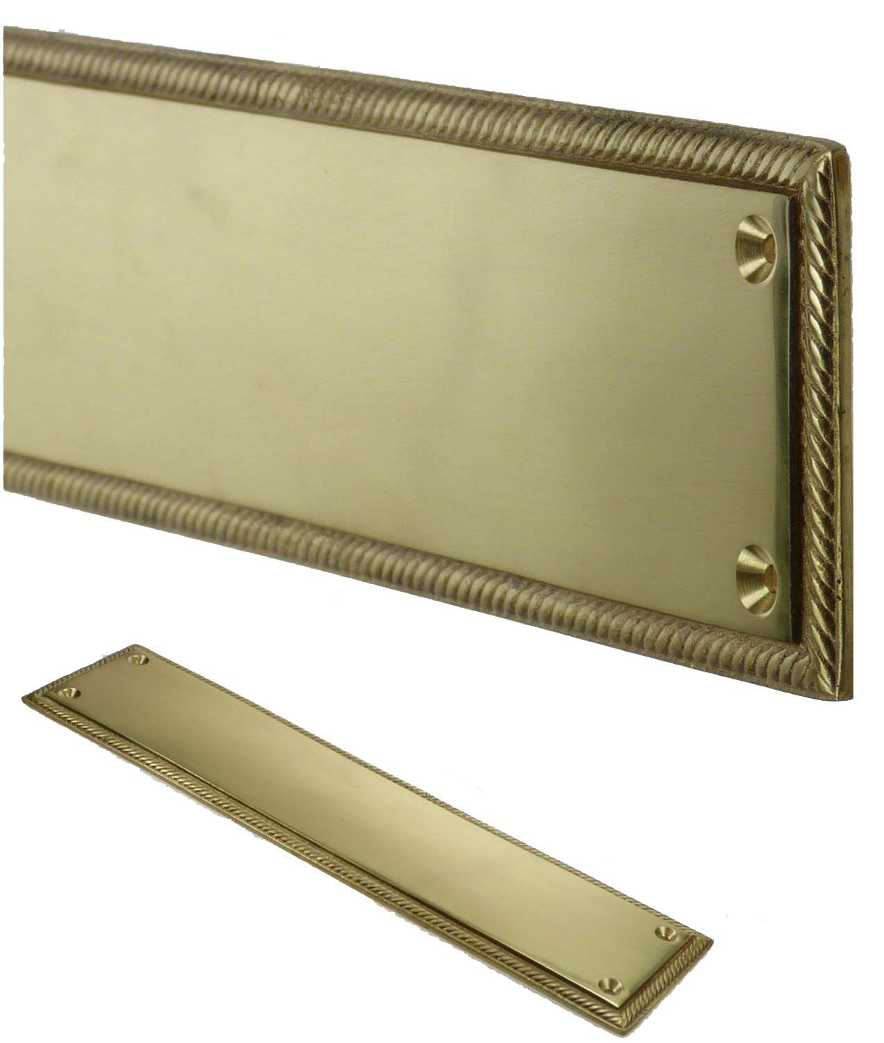 Georgian Style Solid Brass Door Finger Plate Push Enter Exit Orion