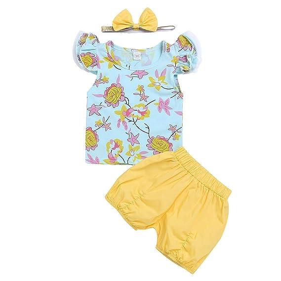 Puseky Camiseta Floral con Volantes Naturales Estilo Country de 3 Piezas +  Pantalones sólidos + Conjunto de Trajes de Diadema  Amazon.es  Ropa y  accesorios 7ff24883643