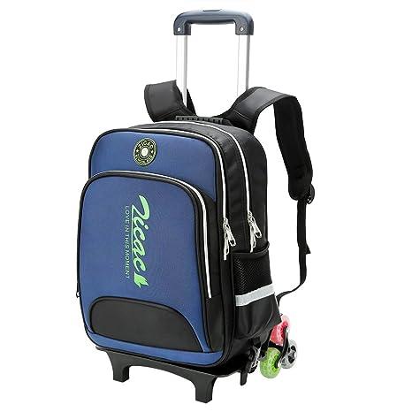 bb98a99d89 Zaino trolley bambino bambina rimovibile tela forte 3 ruote (blu ...