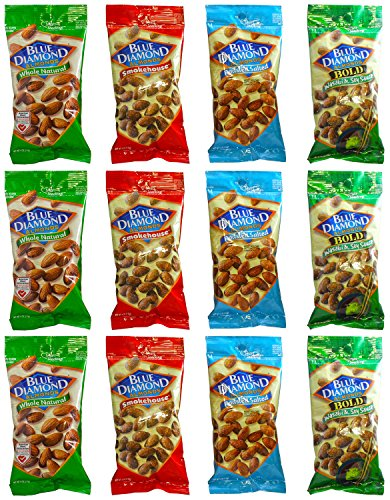 Blue Diamond Gluten Free Almonds, Wasabi & Soy Sauce Whole Natural Smokehouse & Roasted Salted 4 Ounce Pouch Sampler Variety Pack (4 Flavors, 12 Pack)