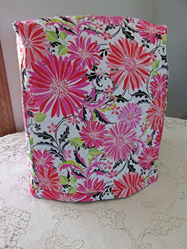 KitchenAid Mixer Cover - Hannah Pink Floral Design with Black & White Floral Reverse - Reversible Quilted Kitchen Appliance Dust Cover - Size and Pocket Options
