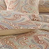 Brandream 2-Piece Standard Pillowcase Set Solid, Gold Paisley Printed, 100% Egyptian Cotton, Soft & Breathable