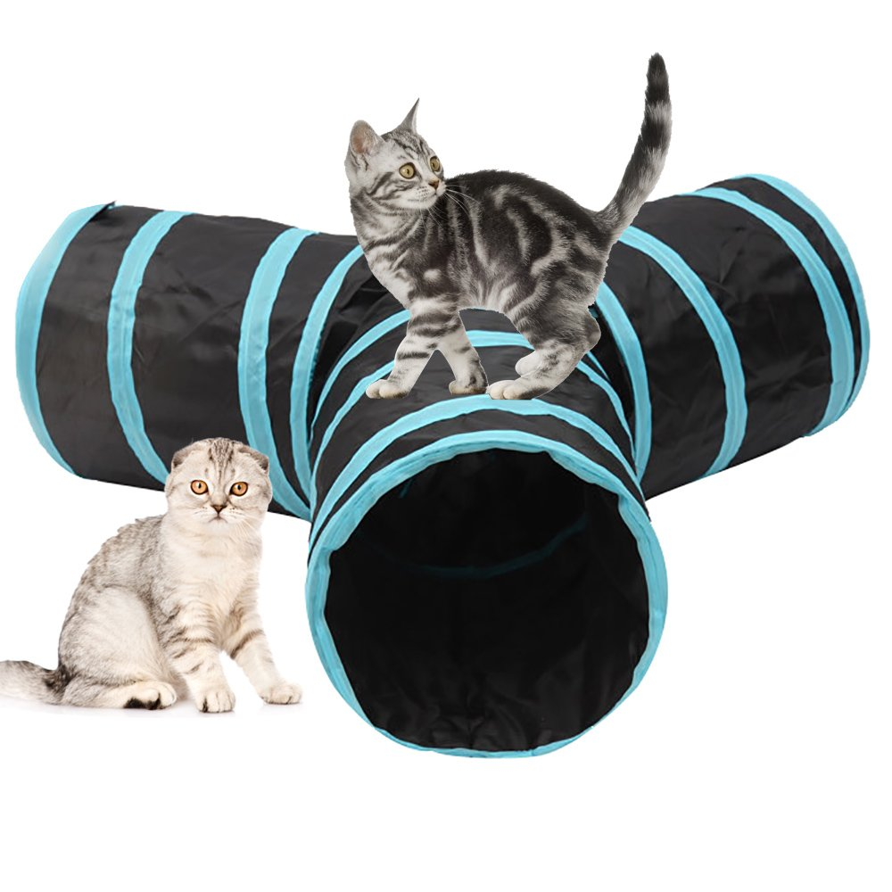 Pet Tunnel,Cat Tunnel Toy Collapsible 3 Way Tube Fun Play Toy Tunnel with Ball for Cat, Puppy, Kitty, Kitten, Rabbit