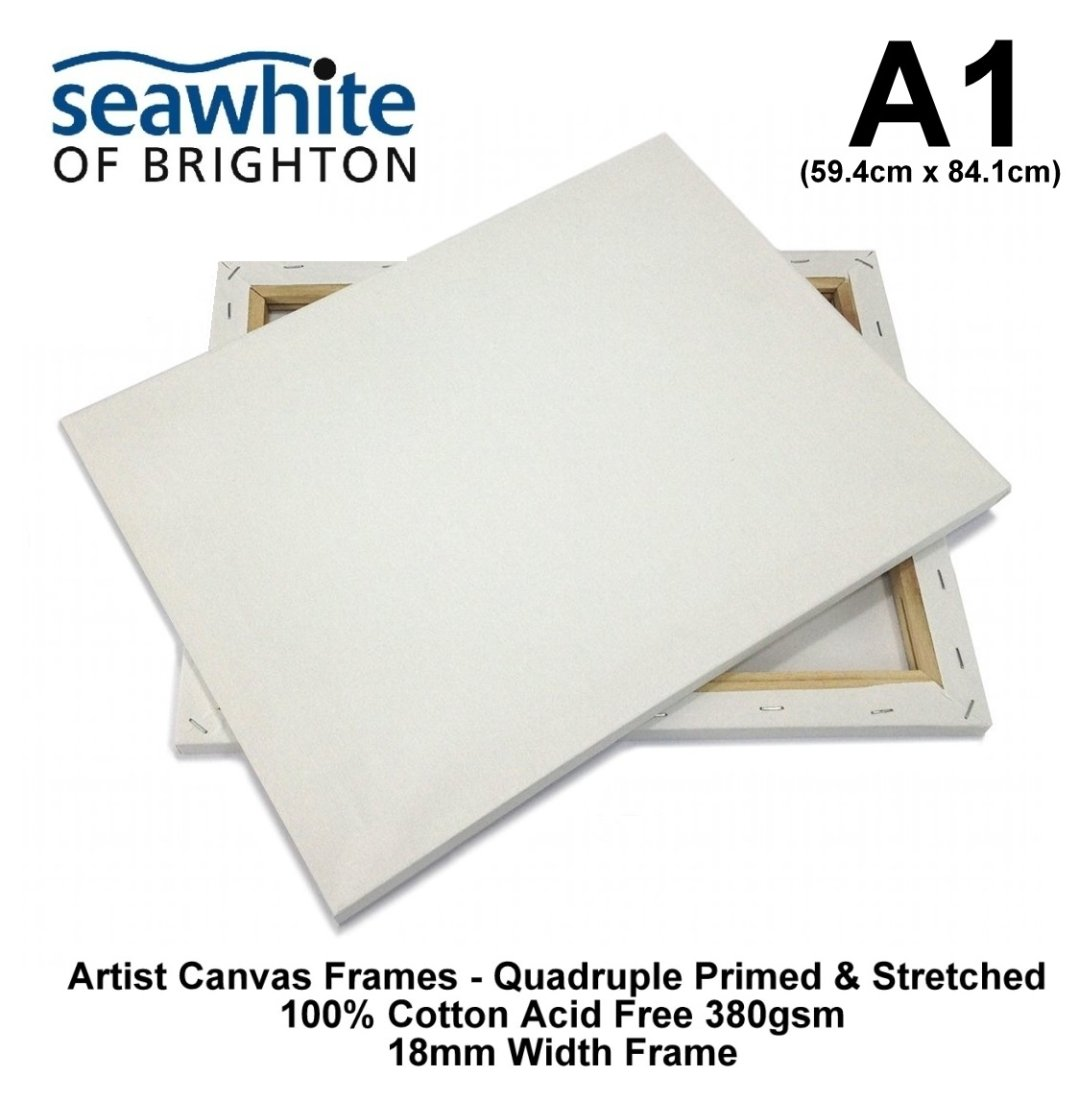 Seawhite A1 Artist Canvas Frame Primed & Stretched Box 380gsm Acid Free Cotton Standard 18mm Width Frame (59.4cm x 84.1cm)