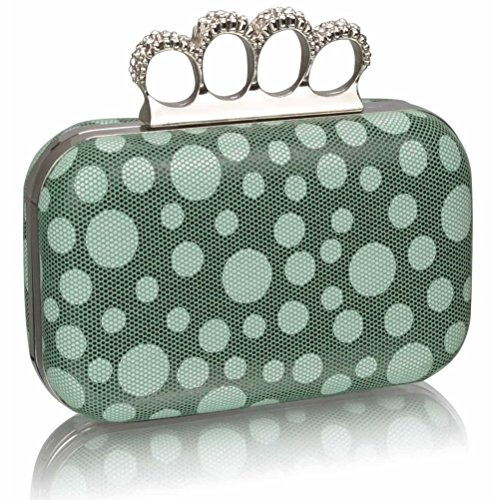 LeahWard? Women's Diamante Beads Clutch Handbag Purse Luxury Clutches For Wedding Ceremony Night Out GREEN DOT CLUTCH
