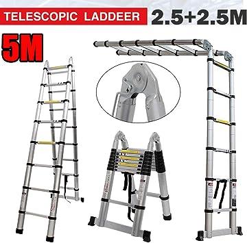 Escalera telescópica portátil plegable de aluminio multiusos, escalera extensible resistente de 16.4 pies, escaleras plegables tipo A, estándar de seguridad EN131: Amazon.es: Bricolaje y herramientas