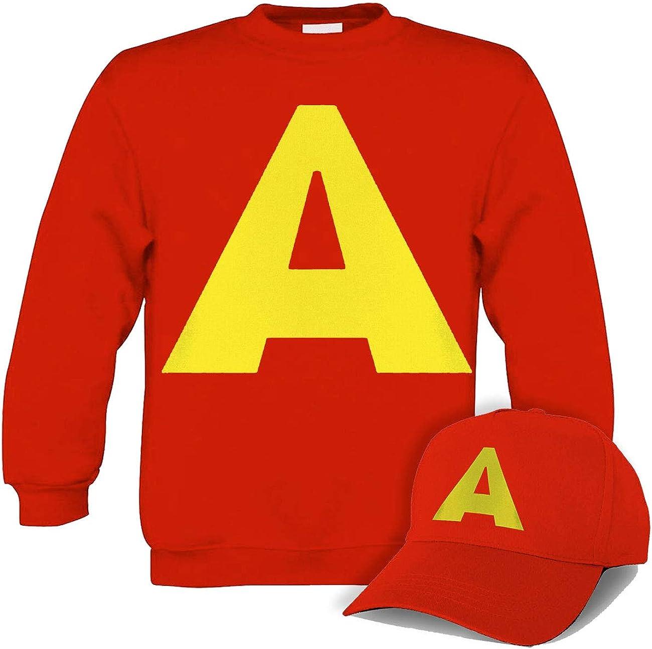 Allover Felpa Bambino Girocollo Colore Rosso con Stampa A Grande Tipo Alvin Cappellino in Omaggio