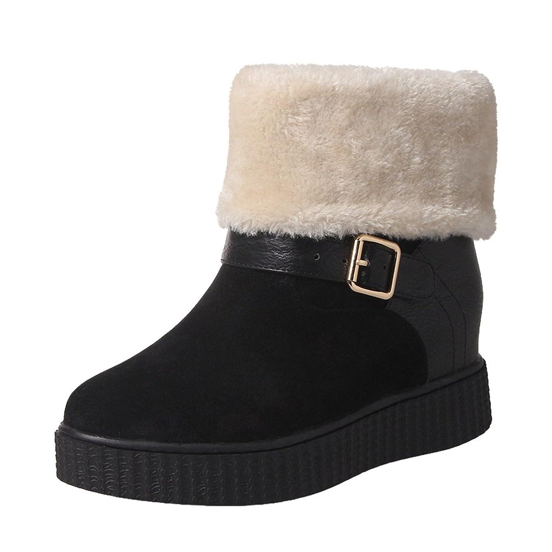 Carolbar Women's Faux Fur Buckle Warm Comfort Hidden Heel Snow Boots