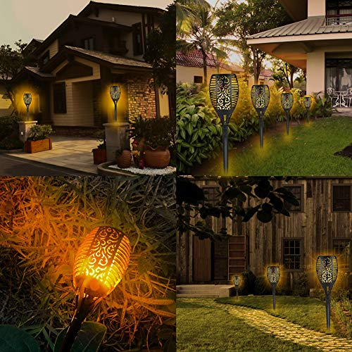 Piqiu Solar Torch Flame Lights Waterproof Dance Flashing Lighting Garden Courtyard Lighting Landscape Light Dusk to Dawn Auto On/Off Decorative Light 4 Pack by Piqiu (Image #5)