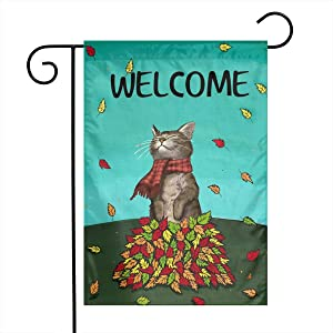 YANGHOME Fall Harvest Autumn Leave Leaf Cat Burlap Garden Porch Lawn Flag Farmhouse Decorations Mailbox Decor Welcome Sign 12x18 Inch Small Mini Size Double Sided Flax Nylon Linen Fabric