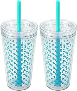 Copco Minimus Double Wall Insulated Tumbler with Removable Straw, 24 oz, Set of 2 (Cyan Blue Dots)