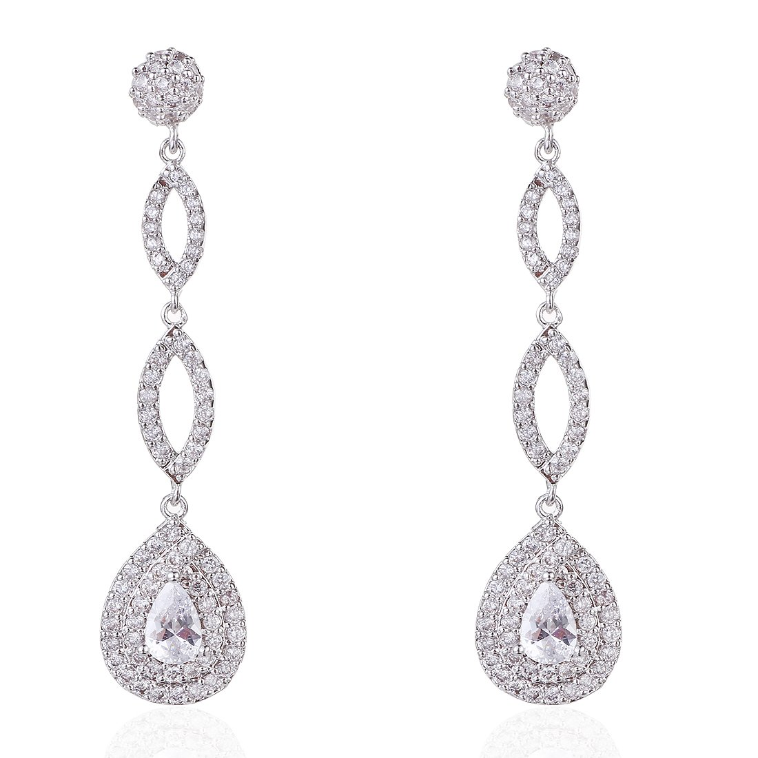 Wordless Love Full Pave Cubic Zirconia Teardrop Bridal Long Earrings White Weeding Jewelry by Wordless Love (Image #1)