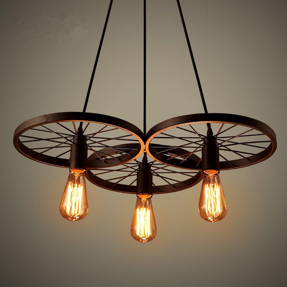 Retro Industry Design Pendelleuchte Im Loft Style Esszimmer Vintage Hngeleuchte LampeWohnzimmer Rad Kronleuchter3 X E27 56 Cm Amazonde