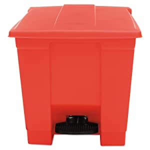 Rubbermaid Commercial RCP 6143 RED Indoor Utility Step-On Waste Container, Square, Plastic, 8 gal, Red