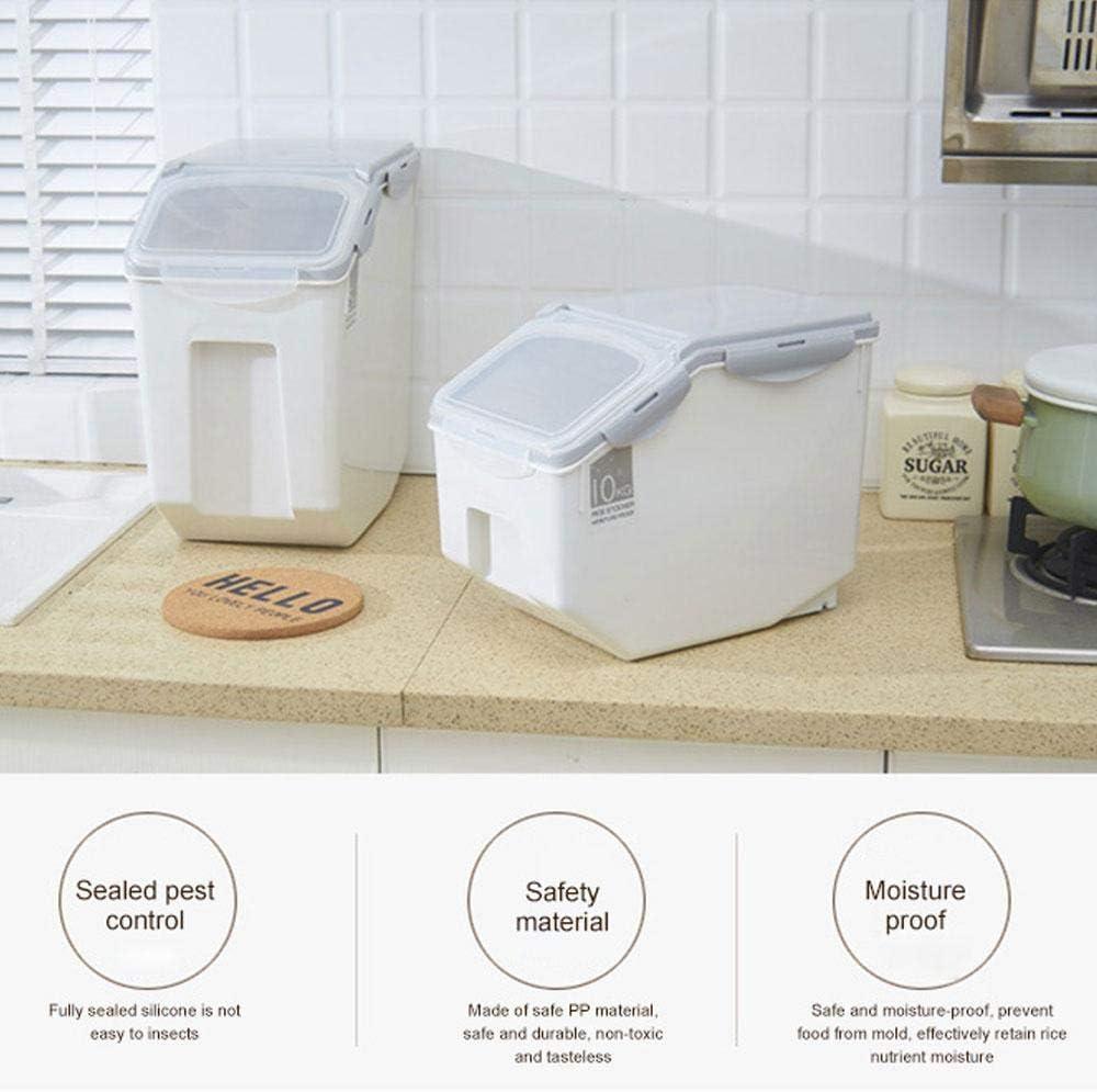 Grande Dispensador de Arroz Herm/ético Comida Recipiente de Arroz Casa Sellado Granos Cereales Organizador Caja con Tapas para Hogar Cocina Umiwe Contenedor de Almacenamiento de Arroz