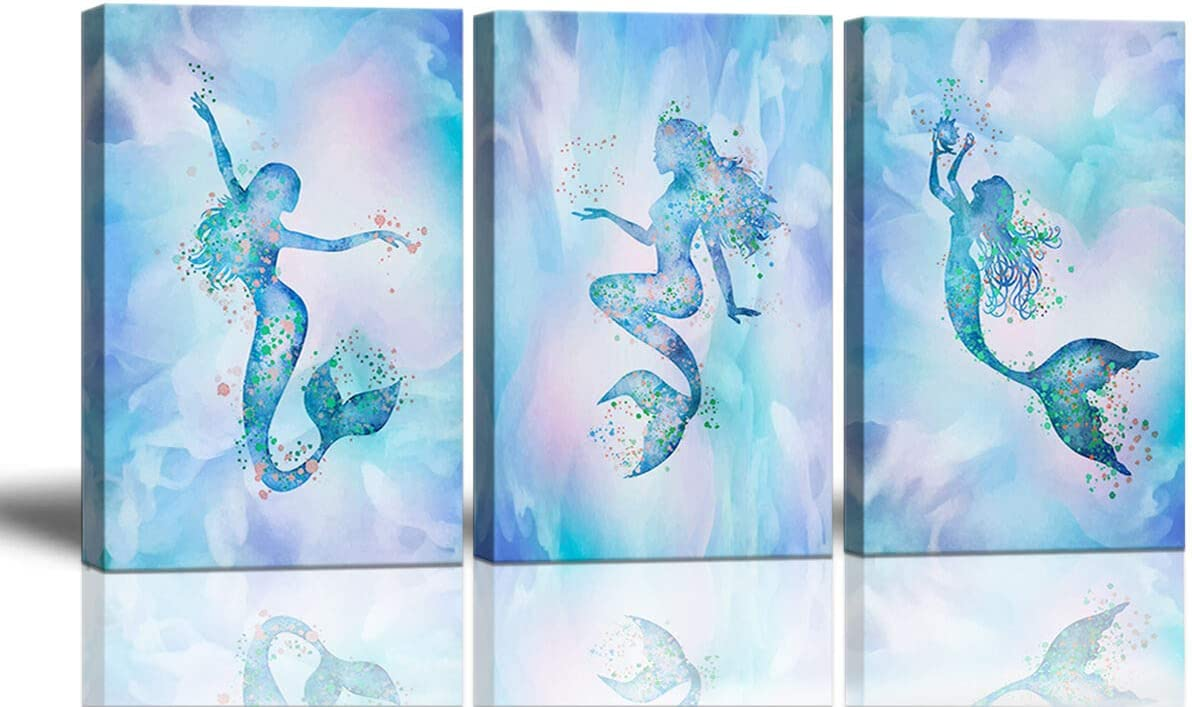 Mermaid Bathroom Decor Wall Art Large for Artwork Wa safety Super Special SALE held Bedroom