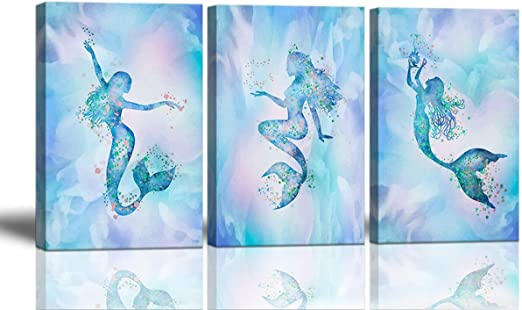 Amazon Com Mermaid Bathroom Decor Wall Art For Bedroom Large Artwork For Walls Colorful Mermaid Decor For Girls Room Canvas Art Wall Decor Framed Wall Decorations Watercolor Mermaid Wall Pictures For Bedroom Home