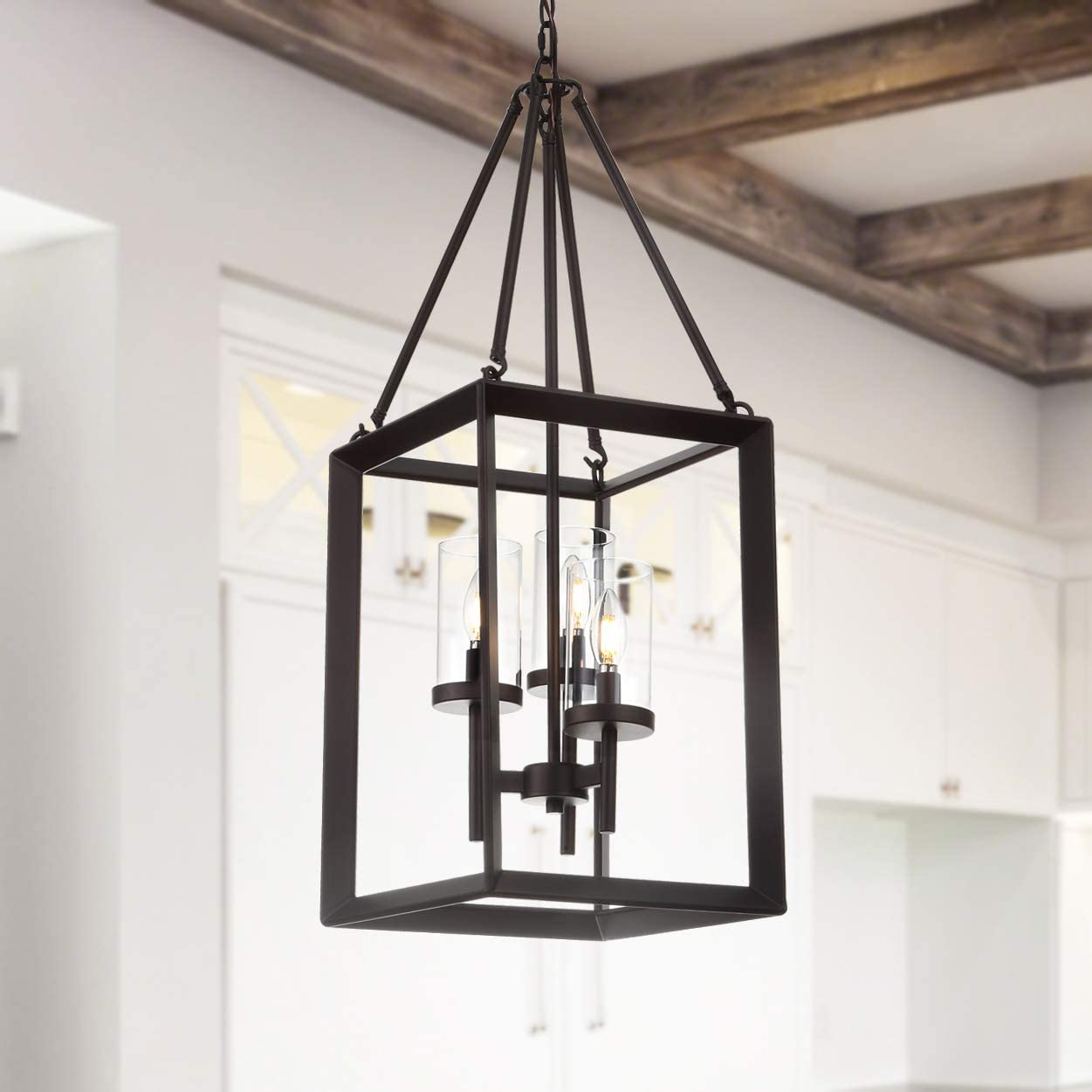 JONATHAN Y JYL7412A Anna 12 3-Light Metal Glass Pendant, Oil Rubbed Bronze Clear