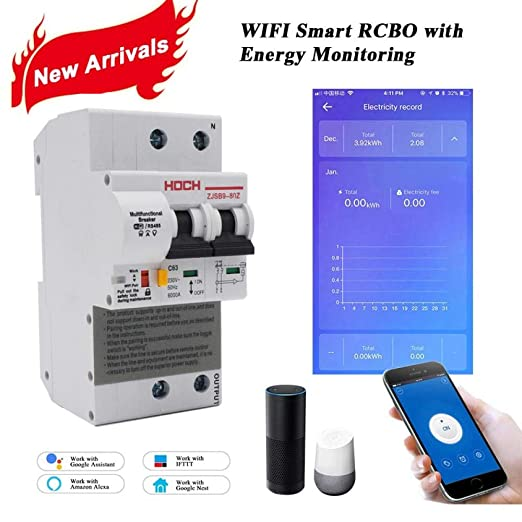 HOCH ZJSB9-80Z WIFI Circuit Breaker Energy Monitoring FACTORY timer Remote Control 2P Ewelink app smart Switch free shipping-2P_63A: Amazon.co.uk: Business, Industry & Science