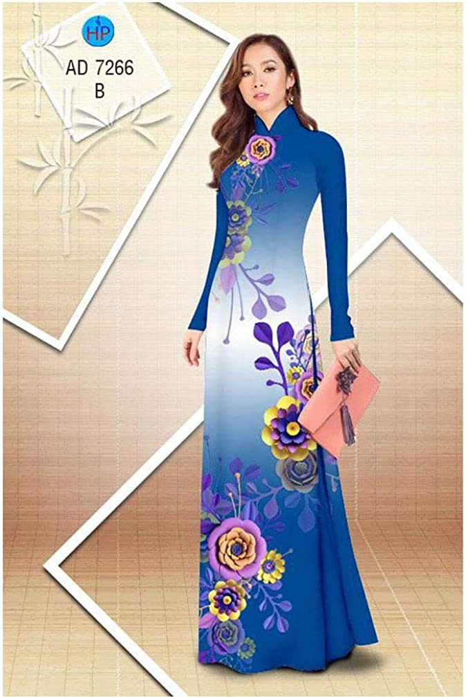 Silk 3D ADVN08052028 Ao Dai Traditional Vietnamese Long Dress Collections with Pants