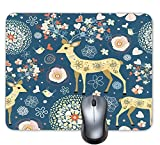 Progrian Beautiful Deer Mouse Pad Flower with Trees Art Custom Design Mousepads Non-Slip Rubber Mousepad, Multicolor