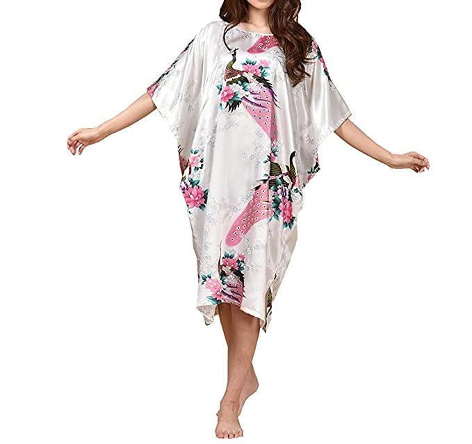Image Unavailable. Image not available for. Color  Globalwells Women s  Batwing Sleeve Pullover Satin Nightgown Plus Size Pajamas Dress bcee7dfe1