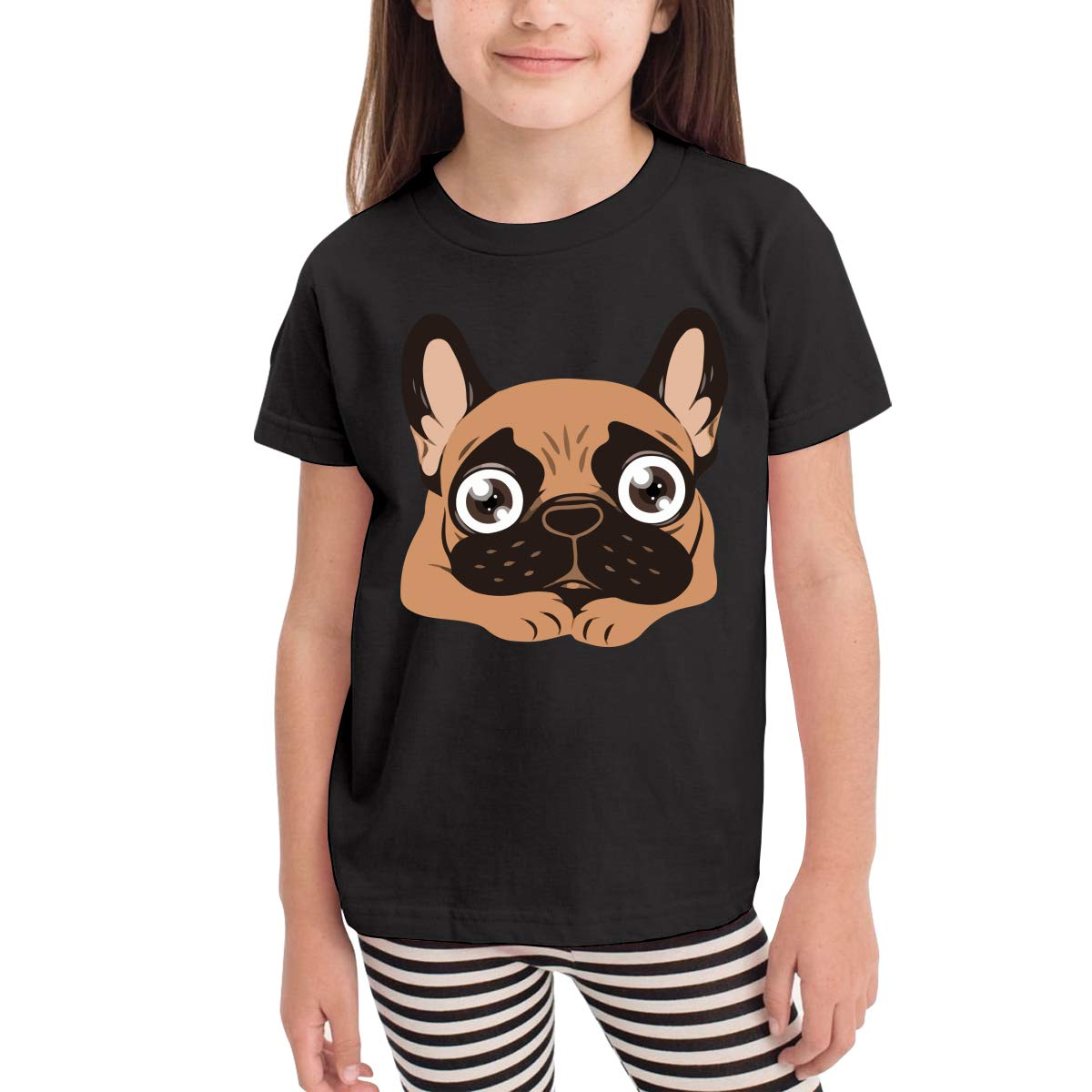 Black Mask Fawn Frenchie Kids Cotton T-Shirt Basic Soft Short Sleeve Tee Tops for Baby Boys Girls