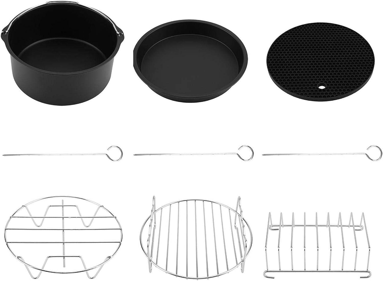 Leftwei Fryer Accessory Set, 6 in 1 Multifunction air Fryer Accessory Set kit Parts Metal Holder Skewer Rack Cake Barrel