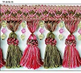 """4"""" Crystal Beaded Tassel Fringe Trim TF-8/19-15 Green & Pink (Sold by the yard)"""