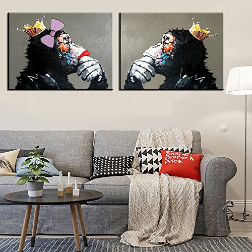 Osm Art Handmade Modern Abstract Painting Couples Gray Animals High Q. Wall Decor Thinking Orangutan Pictures Paintings on Canvas King And Queen Monkey a Set No Framed Pictures Hang Oil Painting