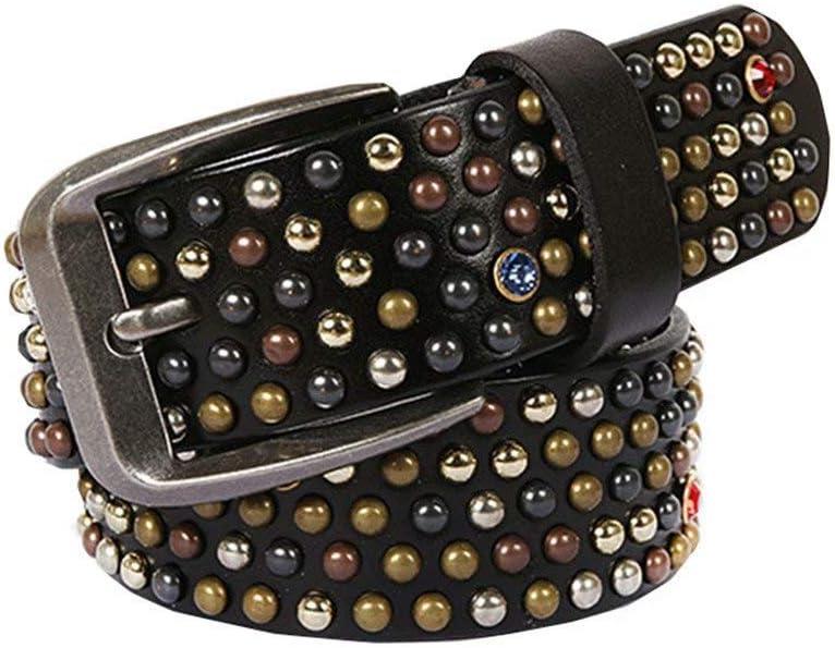 Cinturones para Hombre Cuero Negro Cinturón con Remaches Decoración De Uñas Y Diamantes En Forma De Hongo, Cinturones para Hombres Y Mujeres (110 Cm)