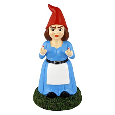 "Gnometastic Lady Double Bird Gnomette Garden Gnome Statue, 8.45"" Tall, Indoor/Outdoor Garden Decoration : Garden & Outdoor"